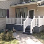 Trex Deck, White Vinyl railing. Work done by Bob Hall. Contact us for information.
